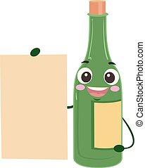 mascotte, planche, illustration, vin