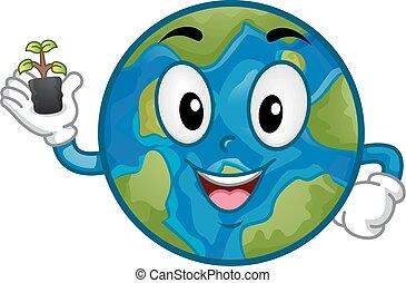 mascotte, plant, terre planète