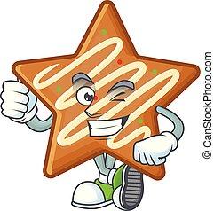 mascotte, pouces, étoile, biscuits, dessin animé, haut