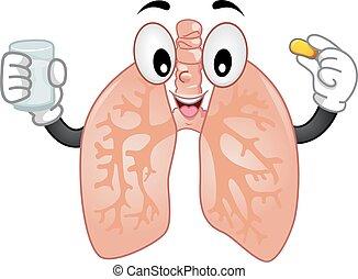 mascotte, poumons, tablette
