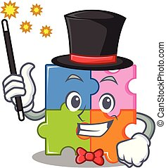 mascotte, puzzle, mago, stile, cartone animato