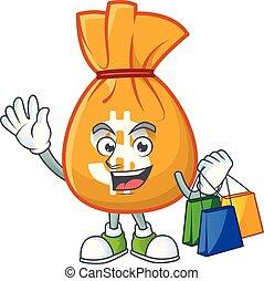 mascotte, sac, achats, dessin animé, argent