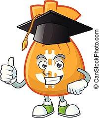 mascotte, sac, dessin animé, argent, remise de diplomes