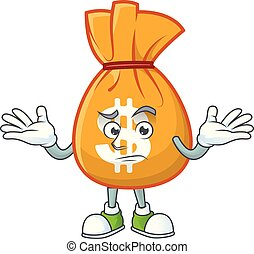mascotte, sac, grimacer, dessin animé, argent