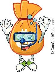 mascotte, sac, plongée, dessin animé, argent