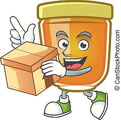 mascotte, scatola, fondo, miele, bianco, portare