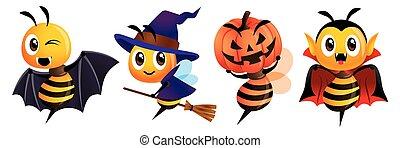 mascotte, set., felice, -, costumi, carino, halloween., dracula, halloween, ape, strega, vettore, pipistrello, zucca, cartone animato, carattere