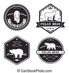 mascotte, set, vendemmia, etichette, icone, orso, emblemi, vettore