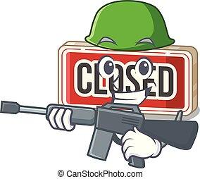 mascotte, signe, isolé, fermé, armée