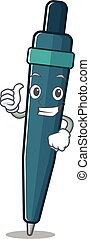 mascotte, smiley, duimen, boekrol, pen, op, gebaar, vervaardiging, fontijn