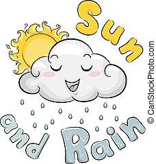 mascotte, soleil, illustration, nuage, pluie, temps