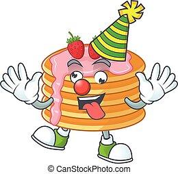 mascotte, style, clown, pan cake, fraise, crème, dessin animé, amuser, caractère