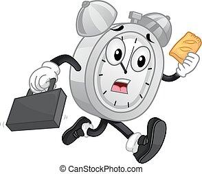 mascotte, sveglia, corsa, tardi, mano, torte