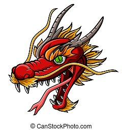 mascotte, testa, cartone animato, rosso, drago, feroce