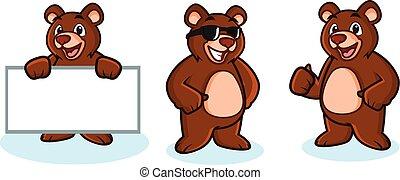 mascotte, vecteur, ours, heureux