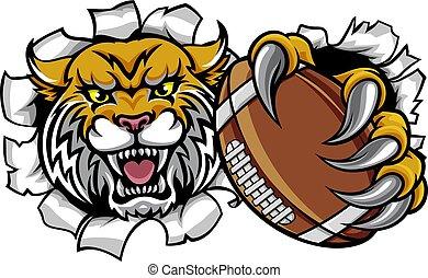 mascotte, wildcat, football americano