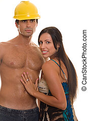 Masculine and Feminine - Young adult woman touching a...