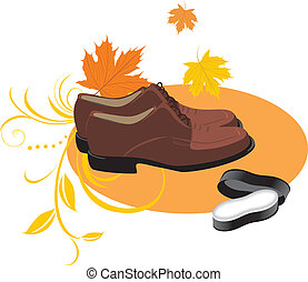 Masculine brown shoes and sponge