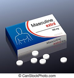 """Pills named """"Masculine extra"""" with a male upper body as brand logo on the cardboard packet of this medical fake product. Vector illustration."""