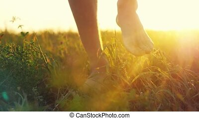 Masculine feet go barefoot to the soft grass through the sun during beautiful sunset with lense flare effects in slowmotion. 1920x1080