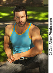 Masculine guy - Natural outdoor portrait of a fit masculine ...