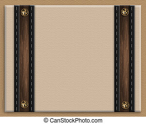 Image and illustration composition of brown border with decorative accents for announcement, letter or wedding invitation template. Copy space