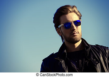 masculine man - Confident handsome man in sunglasses and...