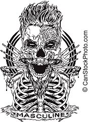 Masculine Man - designs depicting the skull cool hair, a ...