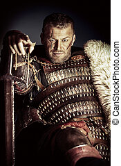masculine - Portrait of a courageous ancient warrior in ...