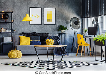 Masculine room with yellow decor