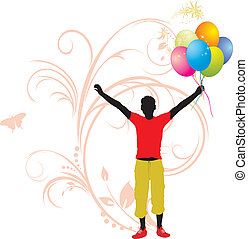 Masculine silhouette with balloons