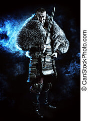 masculine - Portrait of a courageous ancient warrior in...