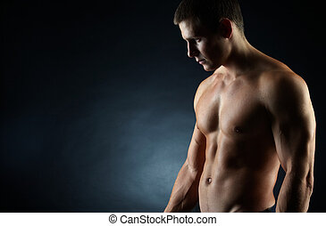 Masculinity - A portrait of a hot guy man without a shirt...