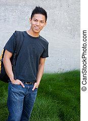masculino jovem, estudante, asiático