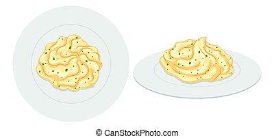 Mash potato on plates