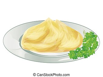 mash potatoes 9solated on a white backround