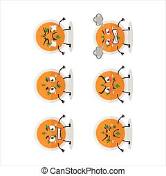 Mashed orange potatoes cartoon character with various angry expressions
