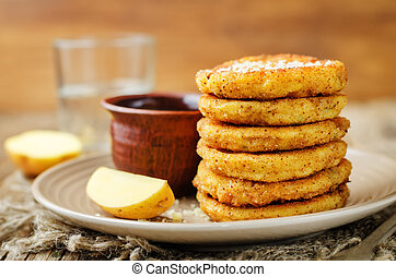 Mashed Potato Cheese Pancakes with Greek Yogurt Dill Sauce