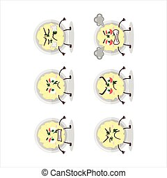 Mashed potatoes cartoon character with various angry expressions