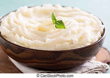 Mashed potatoes in a big bowl