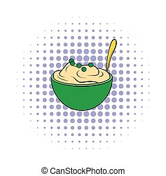 Mashed potatoes in a bowl icon, comics style