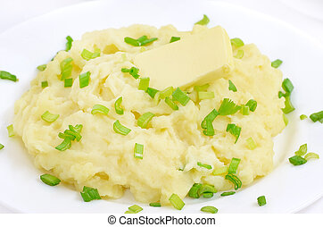 Mashed potatoes on a white plate