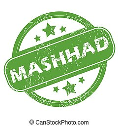 Mashhad green stamp - Round green rubber stamp with name...