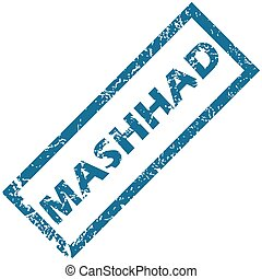 Mashhad rubber stamp - Blue rubber stamp with city name...
