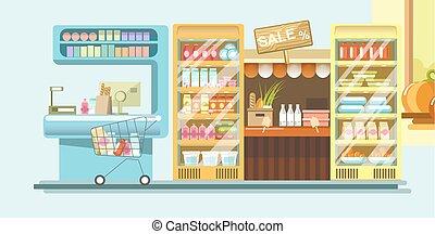 mashine, contanti, supermercato, prodotti, dipartimento, latteria