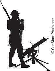 Mashine gunner.Warriors theme - First world war soldier with...