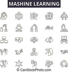 Mashine learning line icons, signs set, vector. Mashine...