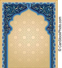 Mashrabiya pattern with floral art and knotted frame