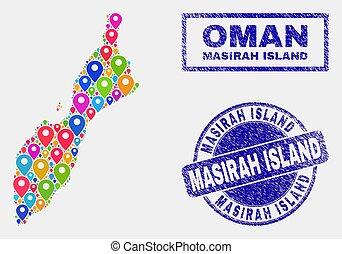 masirah, carte, détresse, timbre, île, cachets, epingles, mosaïque