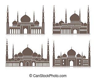 masjid, conjunto, mezquita, o, colorido